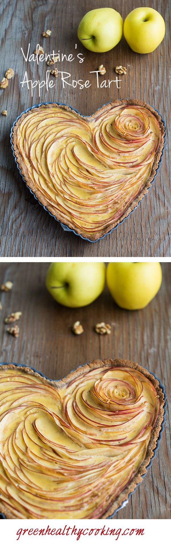 This Valentine's Apple Rose Tart recipe teaches you how to prepare a beautiful and healthy nut flour apple pie with all the love for someone very special!