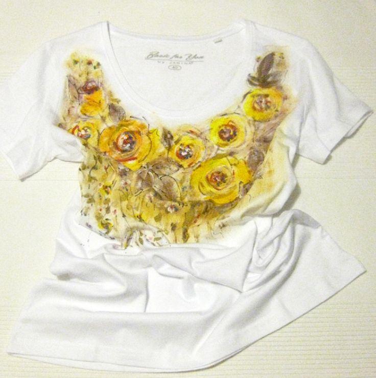 Žlté ruže  maľované tričko