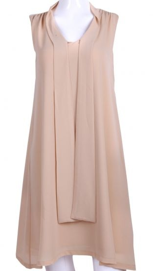 Apricot V-neck Pleated Front A-line Chiffon Long Dress