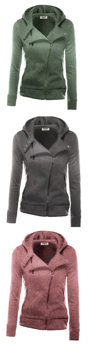 Zipper Hoodie Jacket- love that it comes in lots of different fun fall colors! (aff)
