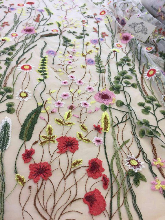 Naturel tulle met multicolor bloemen, Embroidered lace Franse kant bruids lace bruiloft lace avondjurk kant Lingerie lace Skirt Lace