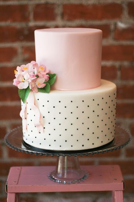Blush pink cake.  Great for a modern wedding, shower, or baby shower.  It's modern but the polka dots make it seem retro too.