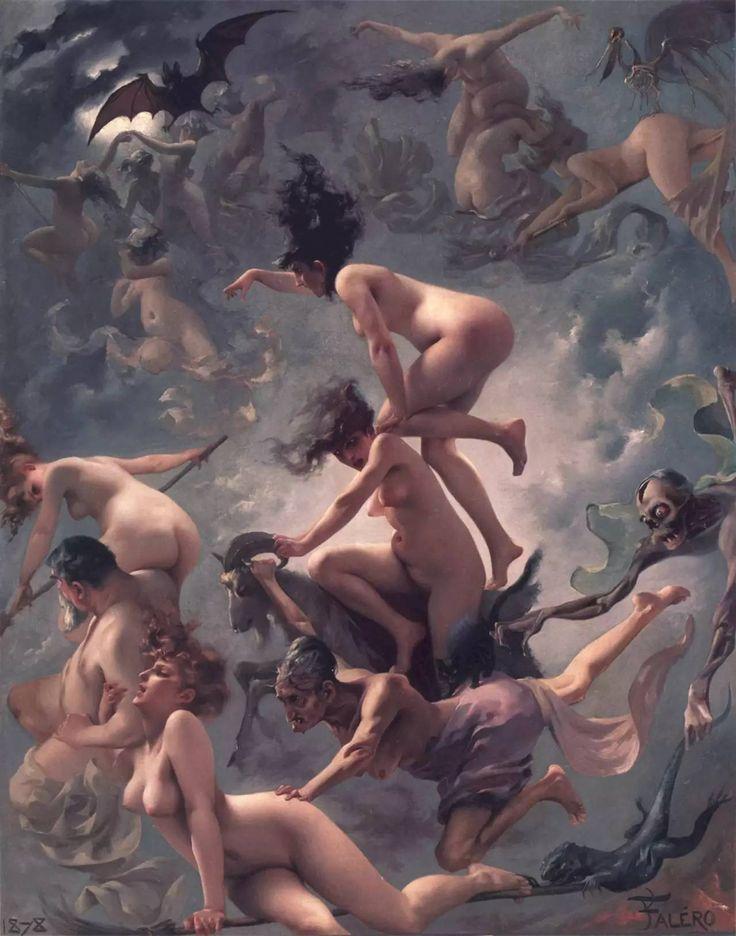 """""""Brujas volando hacia el Sabbath"""" (1878), de Luis Ricardo Falero"""