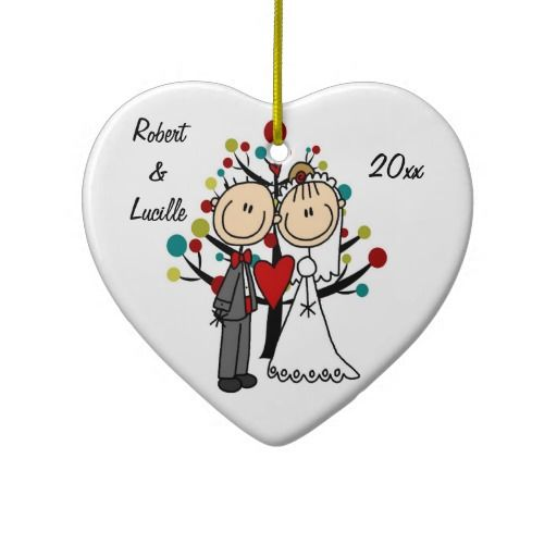 Wedding Couple 1st Christmas Personalized Ornament | Stick ...