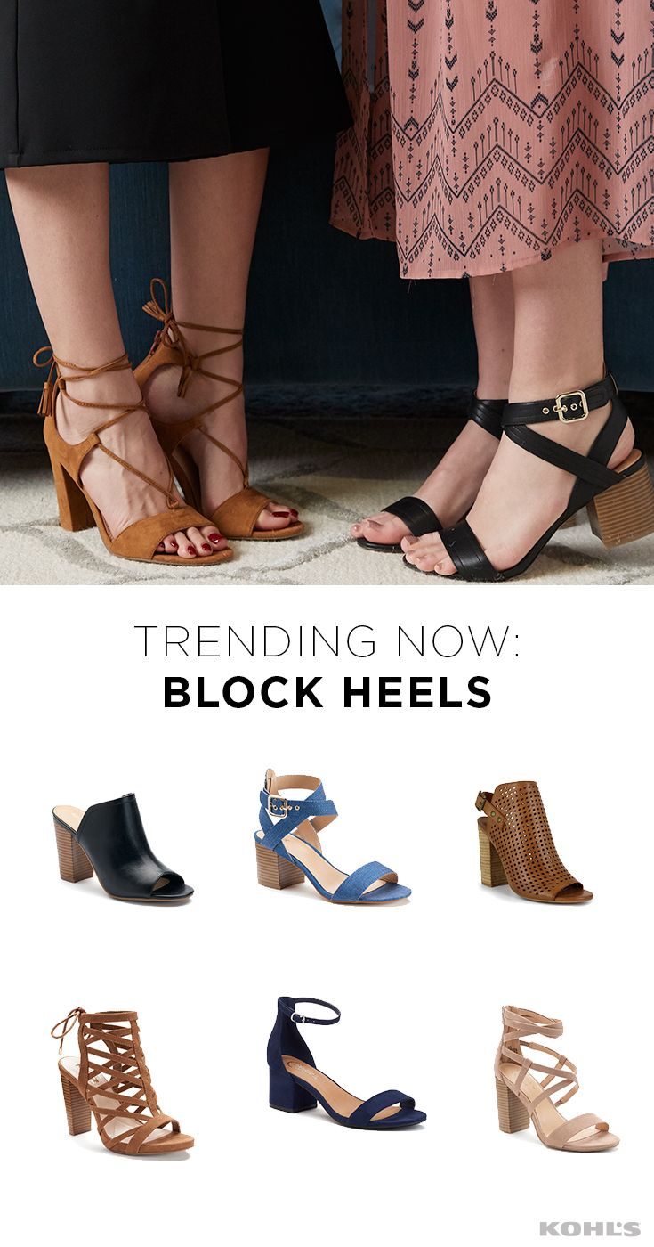 When the hottest heel on the block is also comfortable (bye, wobbly stilettos!), look no further for your go-to spring footwear. From a step above a flat to sky-high height, block heels work for everyone (and every outfit). Find the newest spring styles at Kohl's.