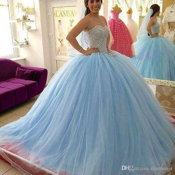 Light Sky Blue Crystal Quinceanera Dresses Beaded Sweetheart Masquerad Sweet 16 Tulle Ball Gowns Debutante Dress