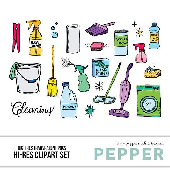 Cleaning Doodle Clipart Set Hi Res Printable Cleaning Supplies Services Icons Vector Art Hand Drawn Illustrations Transparent Png Cleaning Icons Clip Art How To Draw Hands