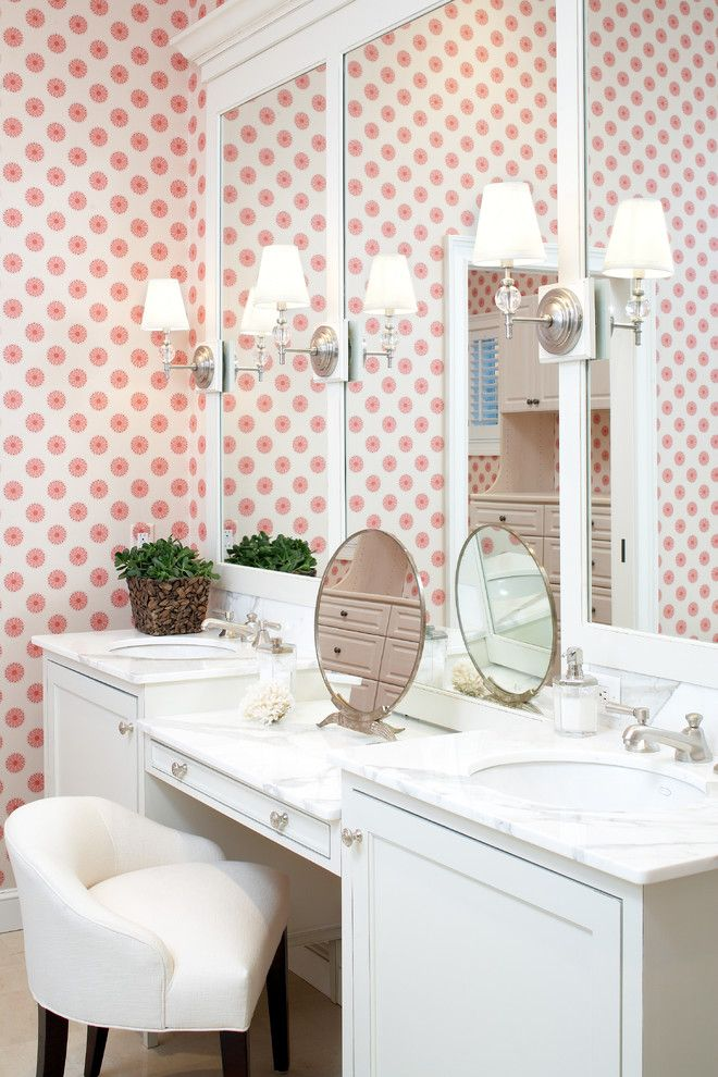 Girls Bathroom   Fun Wallpaper With Simple White Details, Sconces Design