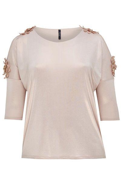 T-shirt met blote schouders en grote bloemen - Blush