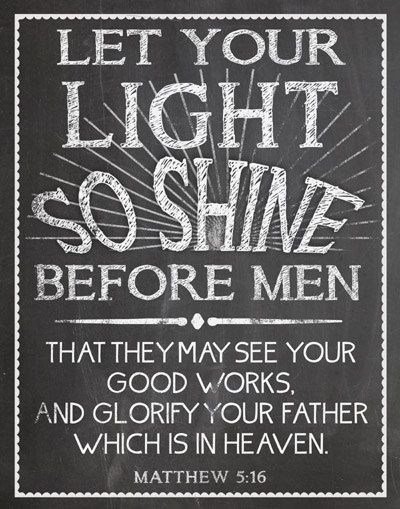 Instant Download Poster Size Let Your Light So by FourHappyFaces (Art & Collectibles, Prints, digital, inspirational, pcfteam, SPSteam, christian god, sps team, pcc peppermint creek, scripture verse, print printable, let your light shine, matthew 5, chalk chalkboard)