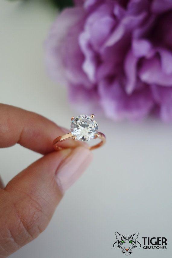 2 carat 8mm Solitaire Engagement Ring Round Man by TigerGemstones