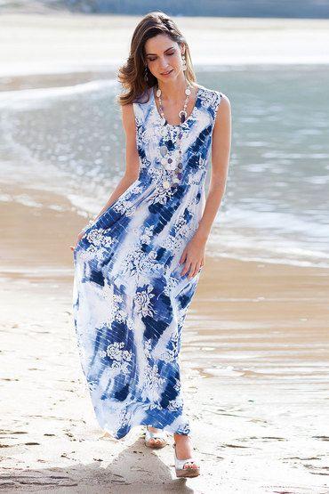 "MOST WORN ~ ""Maxi Dress"", Color: Blue Floral, Fabric: Viscose Elastane, Brand: Together Woman, Store: EziBuy"