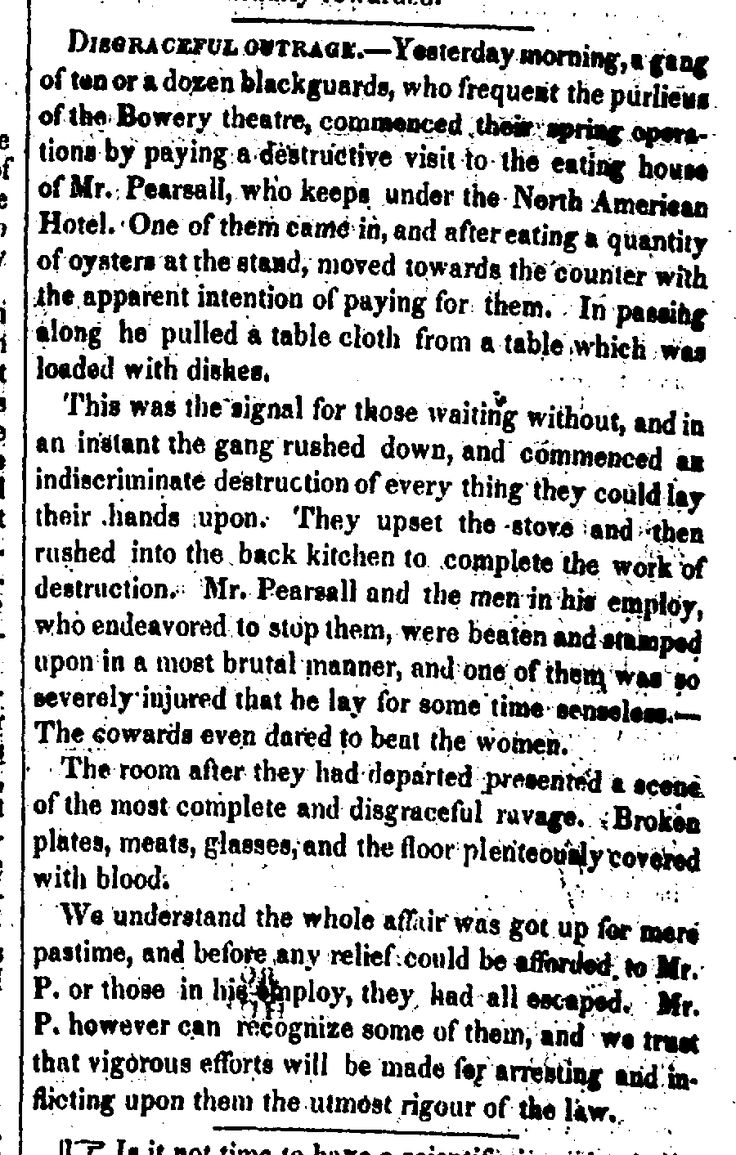 1836.3.4. Chichester Gang Raid and Vandalize victuary in N. American Hotel.