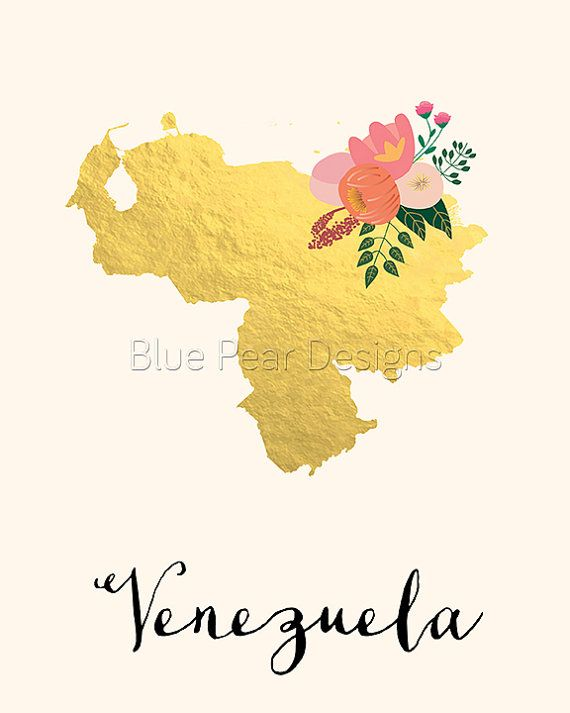 Venezuela Map Venezuela Art Venezuela Poster Venezuela Print