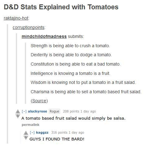 D&D Stats Explained  the frick is constitution? I've never heard of it before. Hum, eating tomatoes? Cool, cool. Pro'lly for all those dude who want to lick the ominous glowing green sword