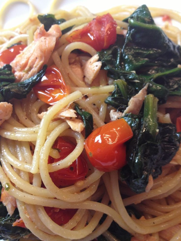 Salmon Fillet on Pasta with Spinach and Cherry Tomatoes on http://asianinamericamag.com