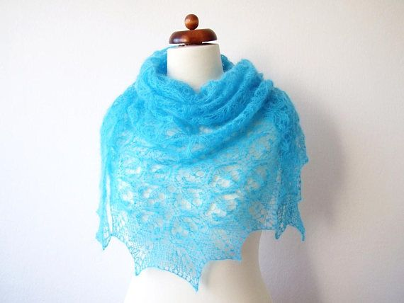 turquoise lace shawl gift for friend handknit triangle
