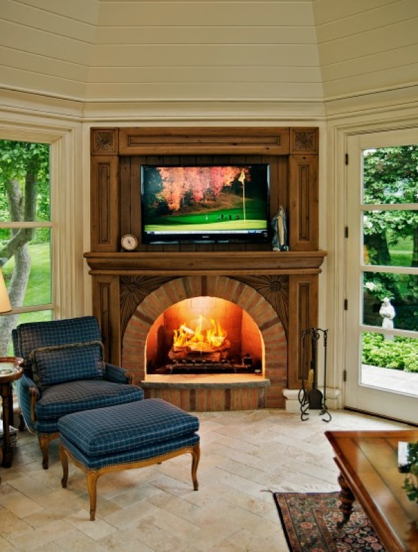41 best corner fireplaces images on pinterest home ideas for Arranging furniture with fireplace and tv