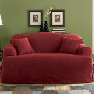 Broyhill Sofa New Soft Micro Suede Solid Burgundy T cushion Couch sofa Cover