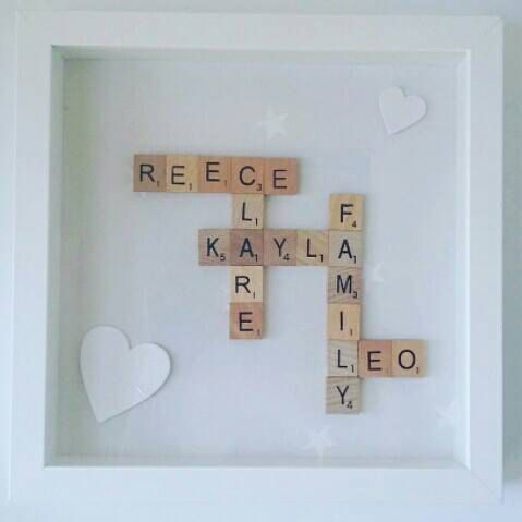 Family scrabble frame by ElizaGraceDesigns on Etsy