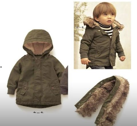 Boys olive removable hooded jacket - Kiddiekart