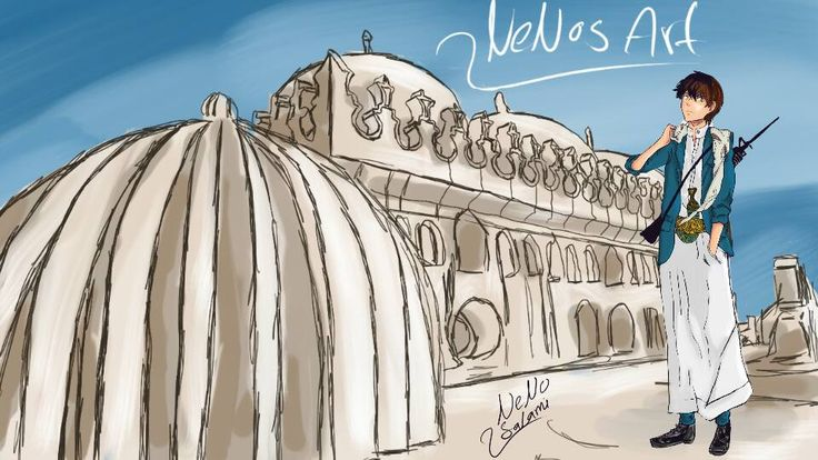 In addition i did an illustration sketch of my town Rada'a which is in yemen that has this amazing mosque called ((al-ameria )) i'ts even more greater from inside i'll try to show you more views in my anime samples drawings