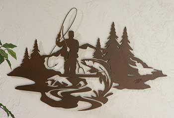 5179855301:Rainbow Stream-Fisherman Metal Wall Art