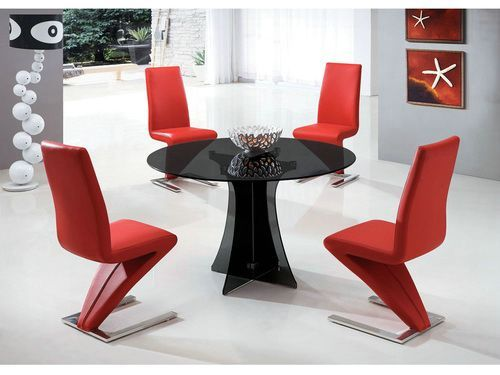 New Round Glass Dining Table With  Chairs Red Color  Dining