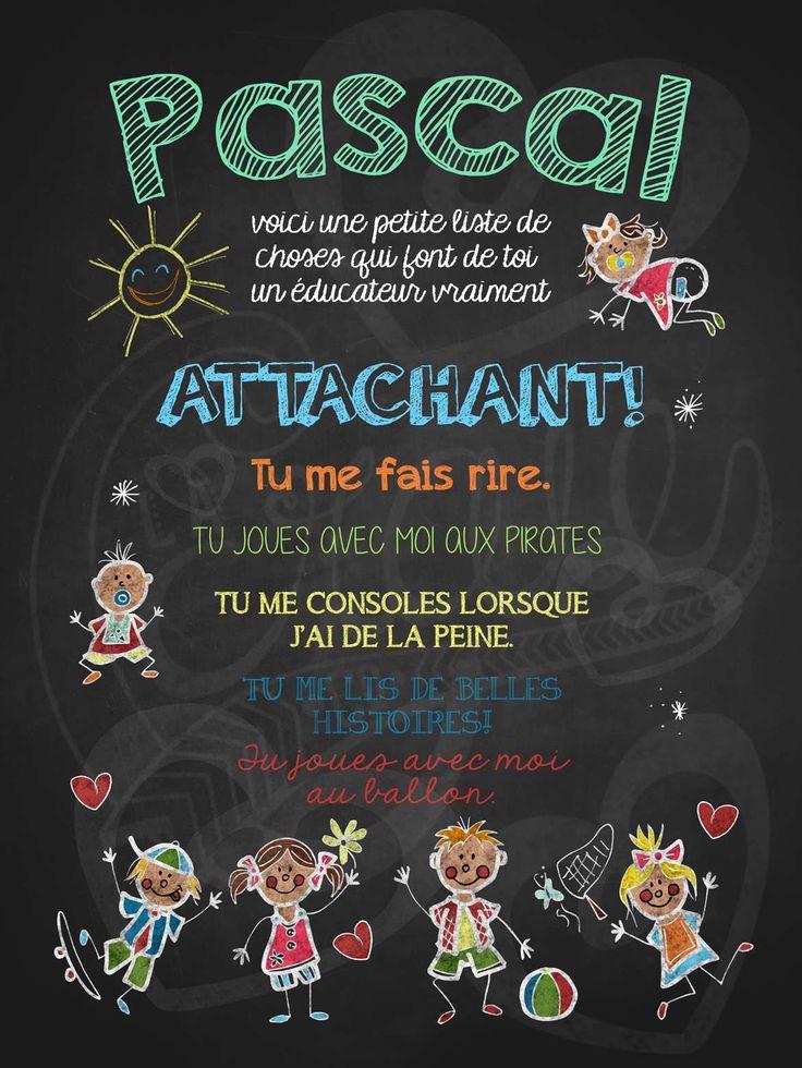 Affiche personnalisée Éducateur attachant! | 15,00$ #lacraieco #chalkboard #cadeau #gardien #garderie #cpe