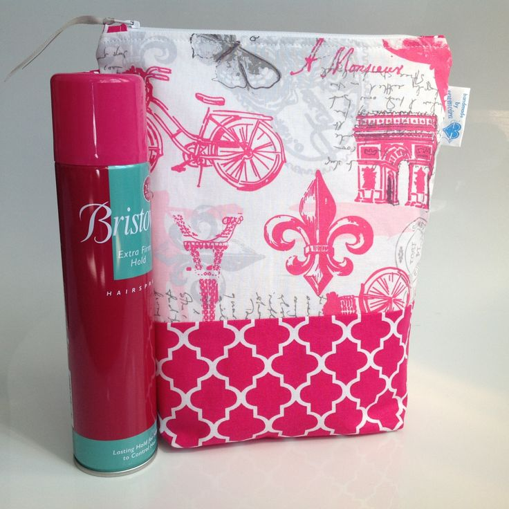 Pink and Grey Paris Fabric Deep Cosmetic Toiletry Bag Handmade in Scotland by sewmoira on Etsy