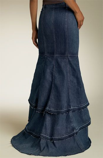Long Gypsy Skirt. Maybe not quite as long or hi-lo so I can show off my boots. ;) #sewing #skirts #jeans