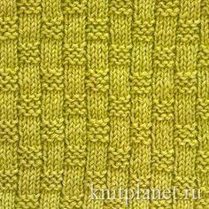 Узор спицами Плетенка № 3 - Плетеная фактура узоров, связанных спицами, создается, как правило, за счет чередования лицевых и изнаночных петель. Узор вяжется просто. Подойдет для вязания пледов, шарфов, свитеров и других изделий.