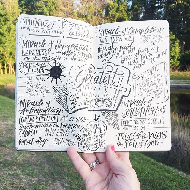 Church lettering sermon notes for creative note taking | sketch notes inspiration | scripture lettering | IG @krystalwhitten