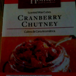 Cranberry Chutney wax cubes from Walmart.  Only $2, smells great in my Scentsy burner.