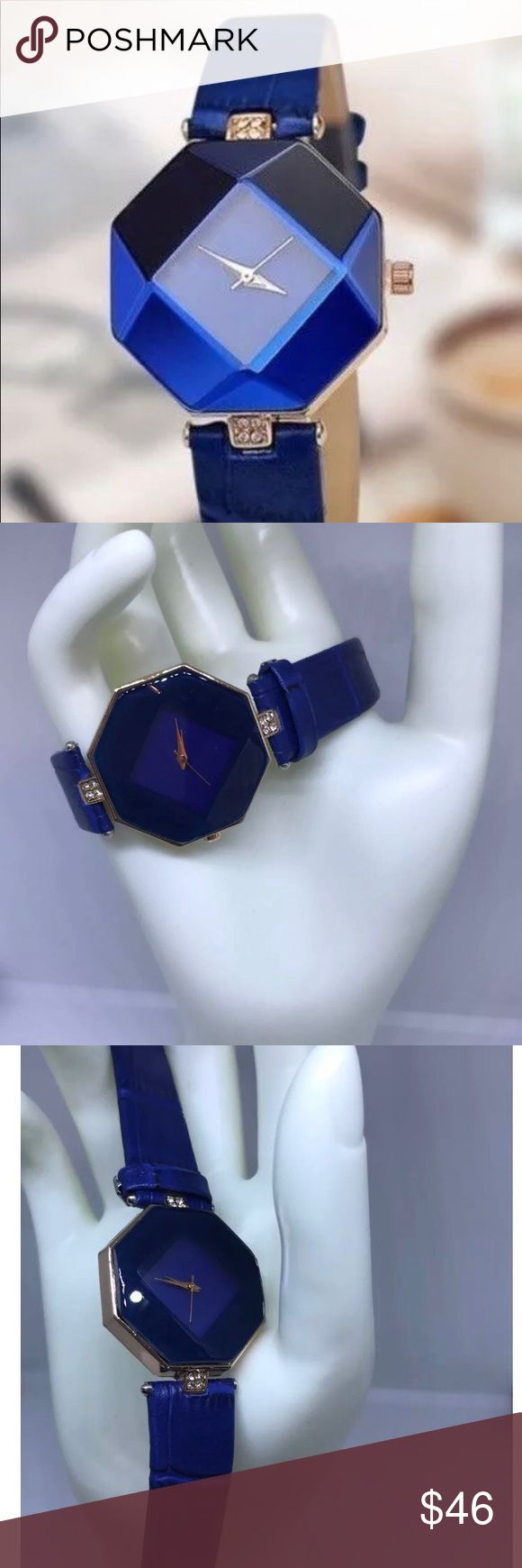 Blue Geneva Octagon Leather Watch Blue Geneva Octagon Leather Watch 2017 Fashionable Women's Rhinestones NEW   This Stylish Blue Geneva Octagon Leather Watch 2017 Fashionable Women's Rhinestones NEW will be a hit at any gathering.  For Dressy or Formal occasions this beautiful watch is a hit with the ladies.  Fashionable Blue Leather Band Octagon shaped face Analog Quartz Battery 2017 Fashion Geneva Solid Stainless Steel Back Cover Water Resistant Small Rhinestones Pretty Gift Box included…