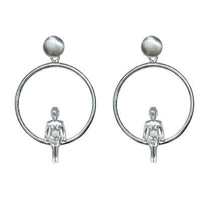 Girl on loop - sterling silver hoop earrings | my-precious.com