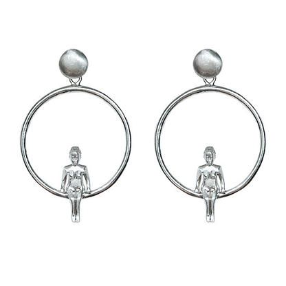 Girl on loop - sterling silver hoop earrings | my-precious.com