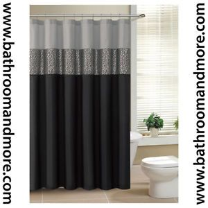 BLACK SILVER  SHOWER CURTAINS  | Black and Gray Fabric Shower Curtain with Metallic Silver Accent ... matches bathroom perfectly