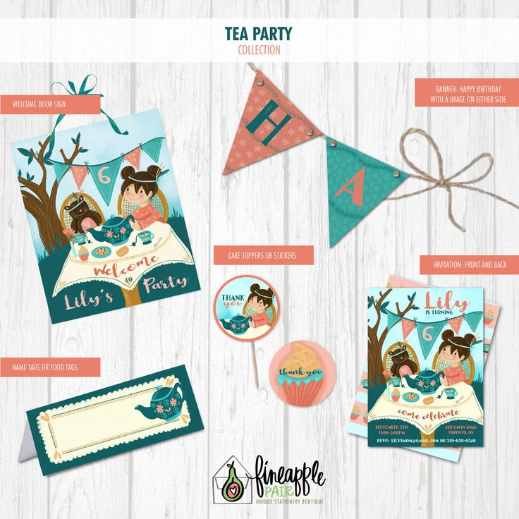 Tea Party Birthday Invite, Tea Party Birthday,  Girl Invitaion Birthday, Tea Party, Tea Party Package, Tea Party DIY, Pink, Teal by FineapplePair on Etsy
