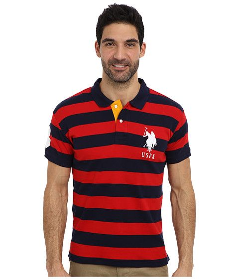 U.S. POLO ASSN. Slim Fit Striped Cotton Interlock Polo