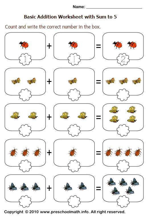 Simple addition worksheets for prek