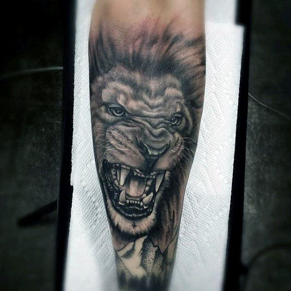 Forearm Sleeve Of Lion Mens Tattoo Designs