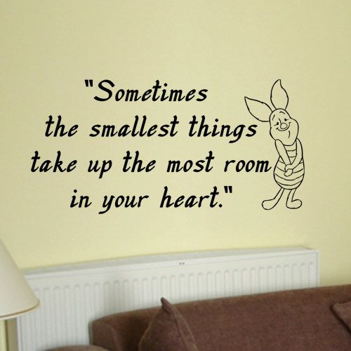 Piglet sometimes the smallest things wall quote vinyl by kisvinyl, $18.99 vinyl wall art sticker decal, kids decals, piglet wall art decal stickers