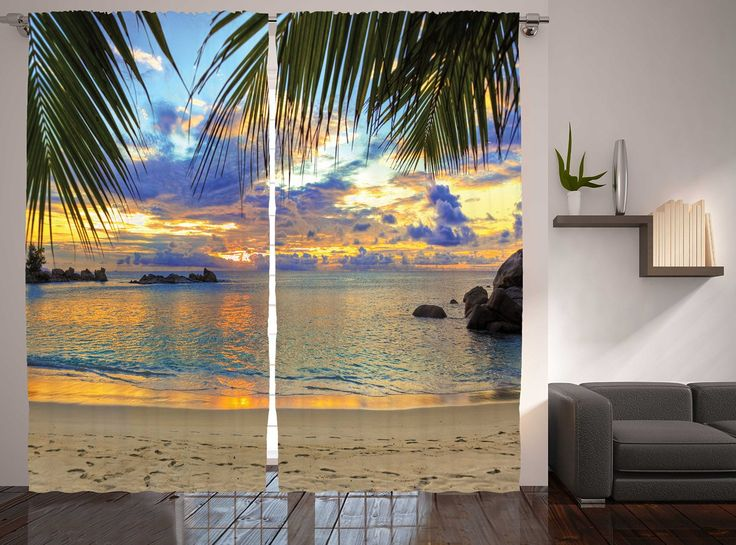 Ambesonne Beach With Palm Trees In Maldives Seashore Sunset Curtains For  Bedroom Living Room Decorations Two