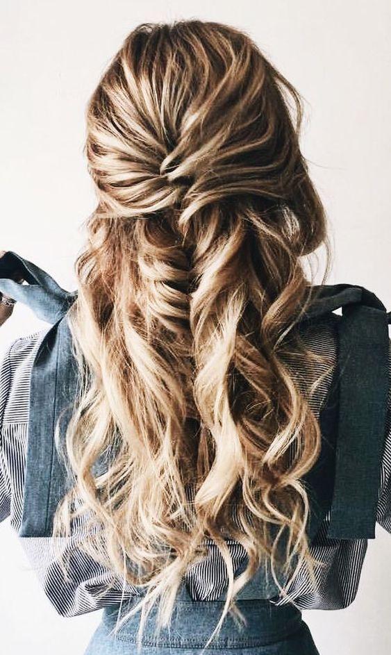 28 Captivating Half Up Half Down Wedding Hairstyles---mermaid braids hairstyle for long hair, rustic wedding ideas, spring and fall weddings,  diy bri...