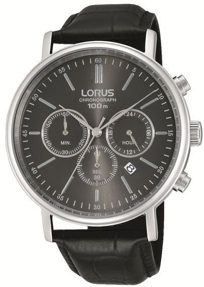 Mens' Black leather strap with black dial. #loruswatches #Swish