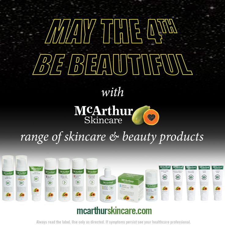 May the 4th (Star Wars Day) Be Beautiful with McArthur Skincare range of skincare & beauty products  Our Therapeutic range of products are listed on the Australian Register of Therapeutic Goods and each contain high concentrations of natural active ingredients traditionally used in herbal medicine including; Aloe Vera, Chickweed, Arnica and Chamomile.   The McArthur Skincare range of skin, body and hair care products all contain our unique McArthur Pawpaw Extract™. At McArthur Skincare we…