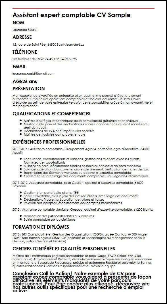 Modele De Cv Assistant Expert Comptable Moncvparfait Expert Comptable Comptable Modeles De Lettres