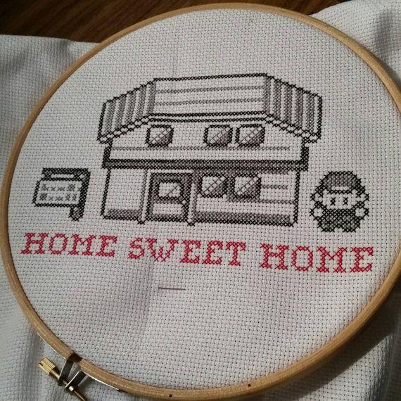 Home Sweet Home - Pokemon cross stitch scene.