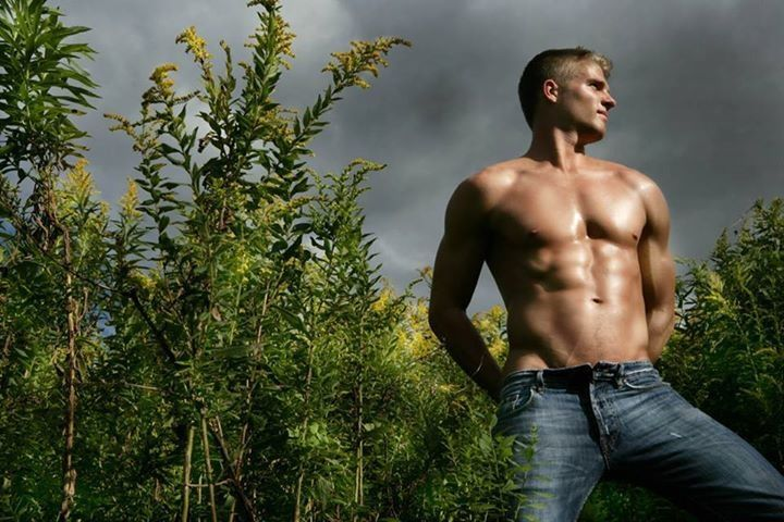 Um, hello shirtless hot guy just chillin with nature ...